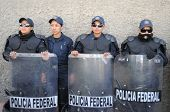 CIUDAD JUAREZ, MEXICO - FEB 27: Federal policemen waits for orders on February 27, 2009, in the viol