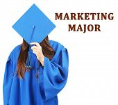 Marketing major concept. Woman in graduation gown and cap on white background poster