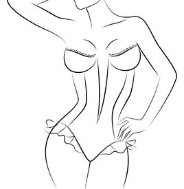 stock photo of striper  - Silhouette of beautiful womanish body on a background for a design - JPG