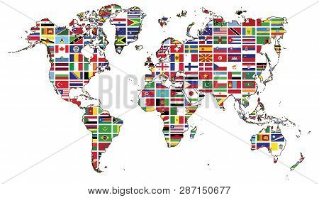 World Map And World Flag