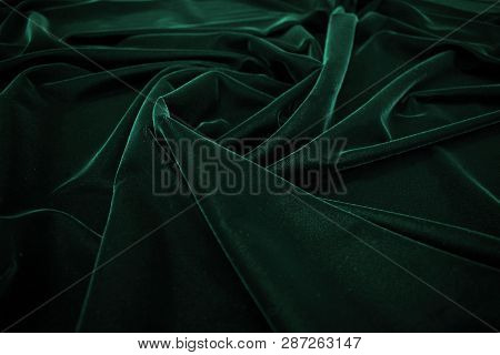 Dark Green Silk Velvet Fabric