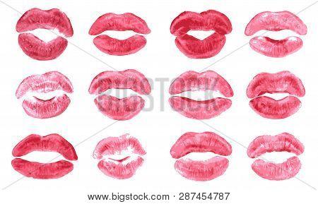 Lipstick Kiss Print Isolated Vector