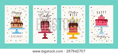 poster of Cake Birthday Banners Or Birthday Invitation Cards Vector Illustration. Happy Birthday. Make A Wish.