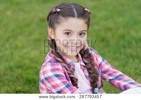 poster of Charming Smile. Fashion Trend. Salon And Hair Care. Girl Smile Face Outdoors. Pleasant Walk In Park.