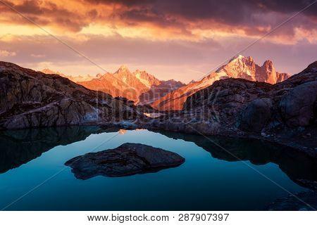 Sunset on lake Lac Blanc