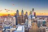 Philadelphia, Pennsylvania, USA skyline over Center City at sunset. poster
