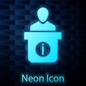 Glowing Neon Information Desk Icon Isolated On Brick Wall Background. Man Silhouette Standing At Inf poster