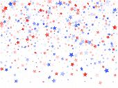 American Independence Day Stars Background. Holiday Confetti In Us Flag Colors For President Day.  V poster