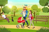 Happy Young Family Strolling In City Park At Sunny, Summer Day Cartoon Vector. Mother Walking With R poster