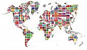 World Map And World Flag Collection.world Map And World Flag Collection Used For Background Drawing  poster