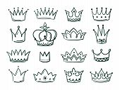 Hand Drawn Crown. Sketch Crowns Queen Coronet Simple Elegant Black Crowning Vintage Coronal Icons Ma poster