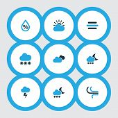 Climate Icons Colored Set With Snow, Cloudy Sky, Snowfall And Other Drizzle Elements. Isolated Vecto poster