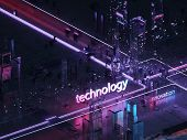 Render Hologram Futuristic 3d City Neon Light Futuristic City Of Glass And Metal. Retro Style Of The poster