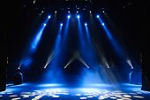 Free Stage With Lights, Background Of Empty Stage, Spotlight, Neon Light, Smoke. poster