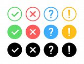 Check Mark Icon Set. Green Ok Or V Tick, Red X, Exclamation Mark, Question Mark. Approval Signs. Che poster