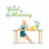 Vector Flat Banner Good Morning Young Girl Sitting In Kitchen Table Drinking Tea Delicious Herbal Dr poster
