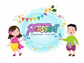 People In Thai Traditional Dress Splashig Water On Songkran Day. Thailand Traditional New Years Day poster