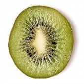 One kiwi fruit slice isolated on white background closeup. Kiwifruit slice flatlay. Flat lay, top vi poster