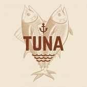 Seafood Restaurant Or Cafe Vector Banner Template With Hand Drawn Engraving Tuna Fish. Vintage Tuna  poster