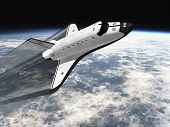 stock photo of missles  - Space Shuttle leaving earth 3d render going right with jet stream - JPG
