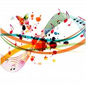 Music Background With Colorful Music Notes Vector Illustration Design. Artistic Music Festival Poste poster