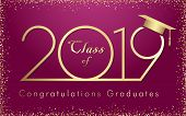 Class Of 20 19 Year Graduation Banner With Glittering Awards Confetti. T-shirt Idea, Embem In Minima poster