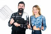 Do It Yourself. Having Barbecue Party. Happy Couple Ready For Cooking Barbecue. Man And Woman Holdin poster