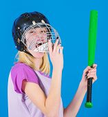 Woman Enjoy Play Baseball Game. Girl Confident Pretty Blonde Wear Baseball Helmet And Hold Bat On Bl poster