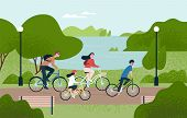 Cute Family Riding Bicycles. Mom, Dad And Children On Bikes At Park. Parents And Kids Cycling Togeth poster