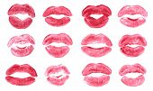 Lipstick Kiss Print Isolated Vector Set Pink Red Coral Lips Set Different Shapes Female Sexy Lips Ma poster