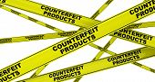 Counterfeit Products. Yellow Warning Tapes With Black Text Counterfeit Products. Isolated. 3d Illust poster