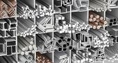 3d rendering of metal tube and profiles, iron,steel,aluminum and copper poster