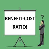 Handwriting Text Writing Benefit Cost Ratio. Concept Meaning Relationship Between The Costs And Bene poster