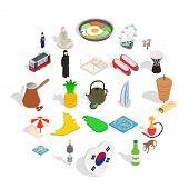 Spirit Of Korea Icons Set. Isometric Set Of 25 Spirit Of Korea Vector Icons For Web Isolated On Whit poster
