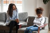 Sad African American Girl Avoid Talking To Mom poster