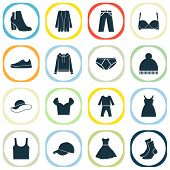 Garment Icons Set With Gumshoes, Sundress, Baseball Cap And Other Beanie Elements. Isolated  Illustr poster