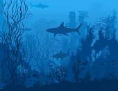 Blue Underwater Landscape With Sharks, Fishes, Coral Reefs, Huge Rocks And See Weeds. Tropical Under poster
