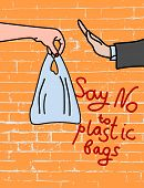 Say No To Plastic  Bags On Brick Background Poster. Disposable Cellophane And Polythene Package Proh poster
