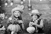 Kids Girl Boy Wear Hat Celebrate Harvest Festival Rustic Style. School Festival Holiday. Celebrate H poster