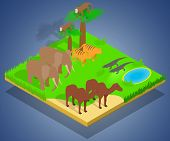 Creature Concept Banner. Isometric Banner Of Creature Vector Concept For Web, Giftcard And Postcard poster