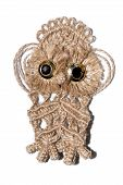 picture of macrame  - An owl woven out of cords and ropes using the art of macrame - JPG