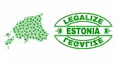 Vector Cannabis Estonia Map Mosaic And Grunge Textured Legalize Stamp Seal. Concept With Green Weed  poster