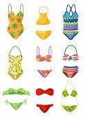 Flat Vector Set Of Female Swimsuits. Trendy Women Garment For Swimming. Stylish Beachwear. Fashion T poster