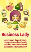 Business Lady Concept Banner. Cartoon Banner Of Business Lady Concept For Web, Giftcard And Postcard poster