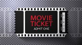 Admission Movie Ticket Template. Black Vector Mockup Pass (tear-off) With Film Tape Creative Backgro poster