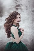 Portrait A Beautiful Long-haired Girl In An Emerald Fairy Dress Walks In The Winter Forest. Fairy Ta poster