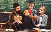 Knowledge And Reading Concept. Genius Son Read Book For Mother And Father Students. Family Study Tog poster