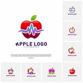Set Of Apple With Medical Pulse Logo Concept. Health Apple Creative Logo Vector. Icon Symbol poster