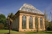 stock photo of royal botanic gardens  - The Victorian Palm House at the Royal Botanic Gardens a public park in Edinburgh Scotland - JPG