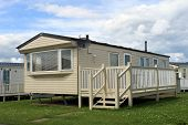 picture of trailer park  - Holiday caravan or mobile home on trailer park - JPG